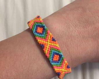 Bright rainbow handmade friendship bracelet