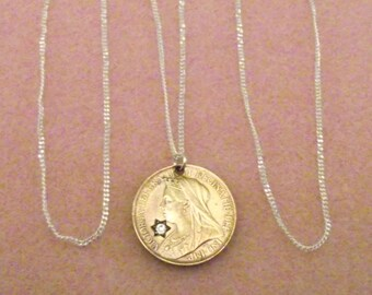 Queen Victoria Diamond Jubilee Stone set Farthing coin necklace 1897