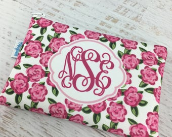 Pink Rose Monogrammed Cosmetic Make Up Bag | Bridesmaid Gift | Wedding Gift | Gift for Her | Gift for Bride