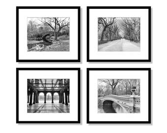 SALE, New York Print Set, Central Park Photography, black and white, Gapstow Bridge, Trees, Bethesda Terrace, Bow Bridge, Wall Art, Set of 4