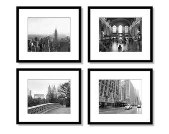Charmant SALE, New York Print Set, Black And White Photography, Set Of 4 Prints