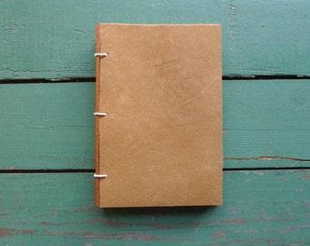Brown Leather Journal, Sketchbook or Guestbook 4x6