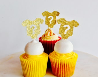 12 question mark gold glitter cup cake topper - baby shower gender reveal custom number cupcake topper, birthday cupcake topper,star toppers