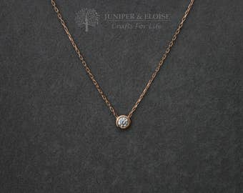 Zircon Necklace, Womens Necklace, Rose gold plated 925 Silver Necklace, Mothers Day Gift, monile, colar, Halskette,