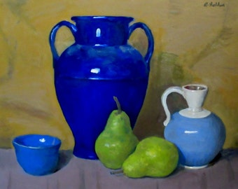 Blue Pottery and Pears, Oil on Canvas, 16x20 in., Unframed