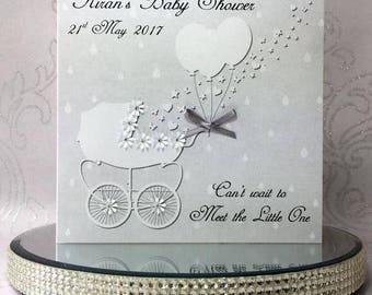 Luxury Handmade Personalised Baby Shower Card - Pram with Flowers - Featuring genuine Swarovski Crystals - FREE UK DELIVERY!