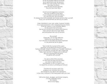 Max Ehrmann - Desiderata - Inspiring Poem - Art Print - A4 Size