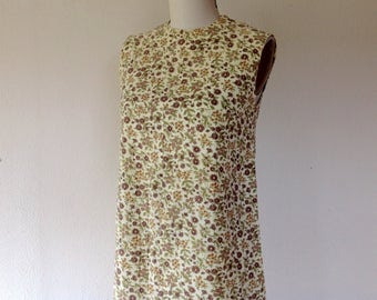 1960s Floral cotton shift dress