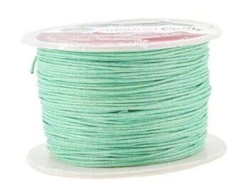 Aquamarine Blue Waxed Cotton Cord, Thread; 12 Ply, 1mm, 100M; Beading, Macramé, Jewelry, Leather, Book Binding; Waxed Cotton Thread, Cord