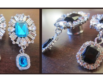 "Caves of Ice EAR TUNNEL PLUG Earrings wedding diamond rhinestones - 0g, 00g, 7/16"", 1/2"", 9/16"", 5/8"" aka 8mm, 10mm, 12mm, 14mm, 16mm"