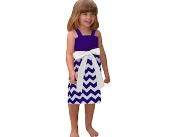 Purple + White Chevron Game Day Dress- Girls
