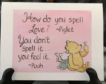 friendship card classic pooh Winnie the Pooh love card i love you pooh quote spelling love baby shower valentine greeting card