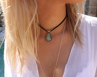 Gypsy turquoise and zircon necklace
