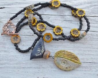 Raven necklace - HumbleBeads - ListPetersArt - DayLilyStudio