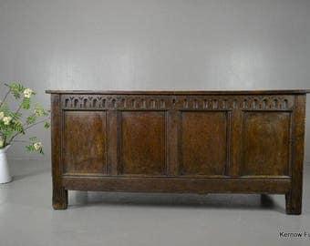 Antique Rustic Oak Coffer Blanket Box