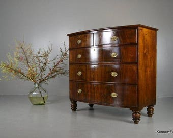 Antique Bow Front Mahogany Chest Of Drawers