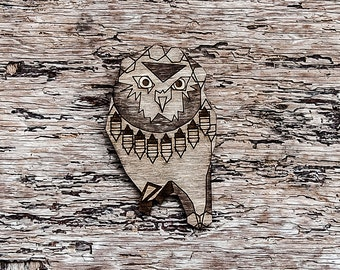 SALE 30% OFF - Curious Owl, wooden brooch, laser cut.