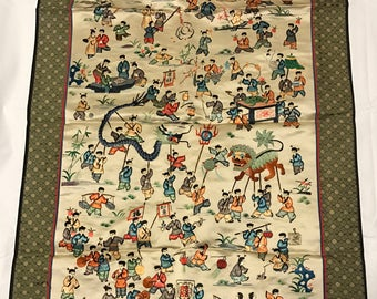 """Vintage Big Chinese silk embroidered hundred children play panel tapestry embroidery vintage Asian Oriental 34""""x22"""""""