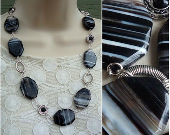 Agate Stone Long Necklace.Black and White Natural Stone.Beaded Necklace.Sterling Silver plated.OOAK.Statement.Chunky.Layering.Handmade.