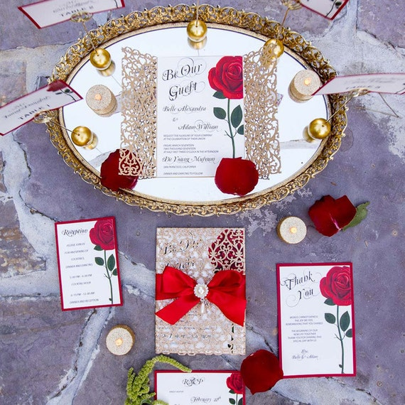 Beauty and the Beast invitationRed rose invitation