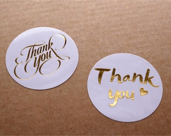 Gold Foil Rounded Labels /Metallic Stickers /Thank You sticker /Envelope Labels /Rounded Label Tags with Gold Foil TZ1560