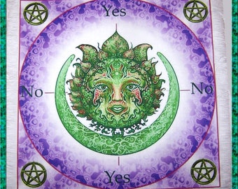 Green Woman Scrying Mat, Dowsing wiccan Magic Divination, fairy gift
