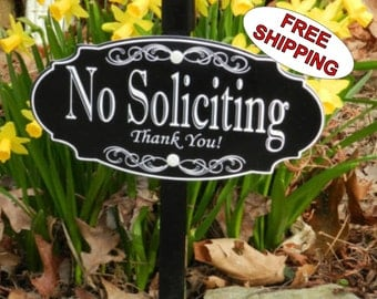 NO SOLICITING Garden Sign Lawn Sign - Free Shipping