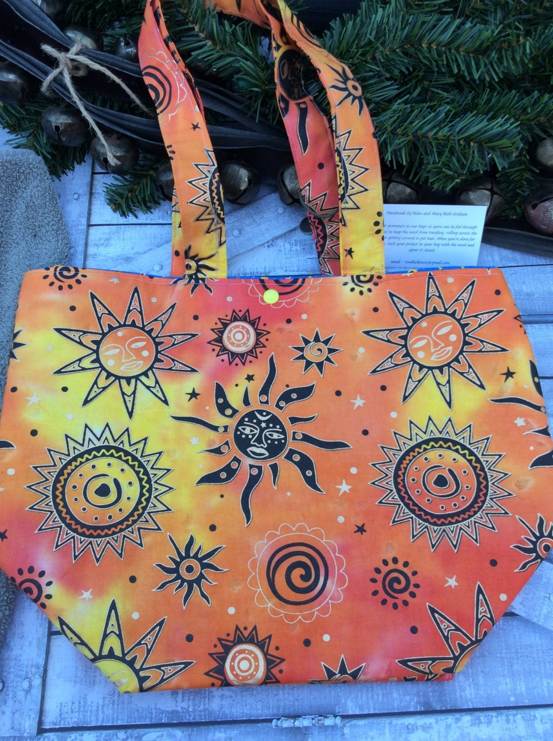 Knitting Project Bag-Extra Large Bright Colored Sun bag,Toad Hollow Bag,Crochet Project Bag,Louisa bag,xlarge yarn keeper,wedge knitting bag