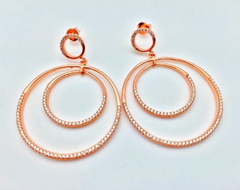 Special Occasion Earrings // CZ Hoop Earrings // 925 Sterling Silver // Rose Gold Plated // Micro Pave Hoops