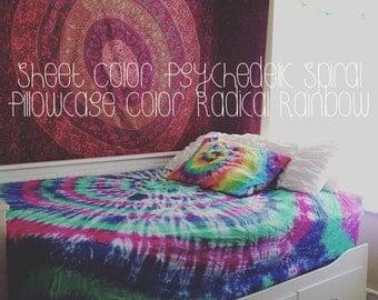 Tie Dye Sheet Set - 100% Cotton - 1 Fitted Sheet - 1 Flat Sheet - 2 Pillow Cases  -  Michigan Made - Handmade - Hippie Bedding