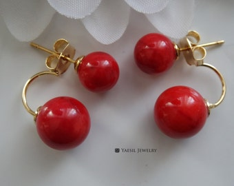 Classic [8/10] Double Coral Earrings in Red, Sterling Silver Post, Bamboo Coral Earrings, Bridal Earrings