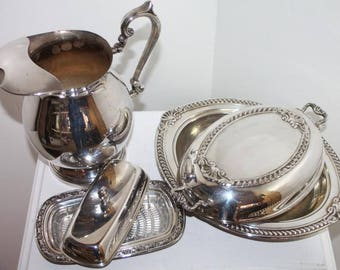Antique SHERIDAN Silverplated Water Pitcher, Serving Tray & Butter Dish/ Over Copper