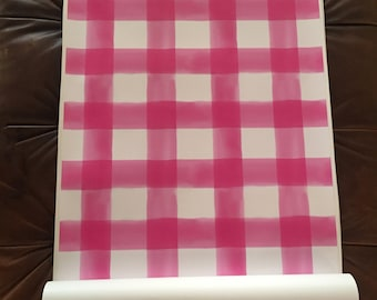 Watercolor Gingham Peel 'n Stick Wallpaper Custom Lengths and FREE color revisions!