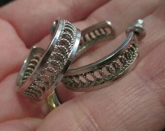 Vintage Hoop pierced Earrings small filigree silver tone open work elegant  silver earrings silver hoop earrings small earrings Dangle