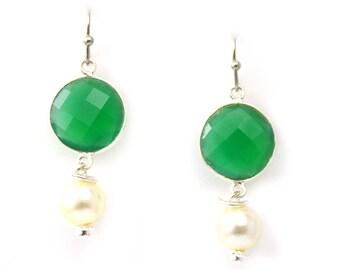 Earrings In Green Onyx