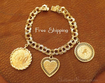 14K Gold Triple Link Charm Bracelet - Signed B.A. Ballou, 3 Engraved Charms: Claudia, 1973 / Leo, Ni10 - Shipping Included!