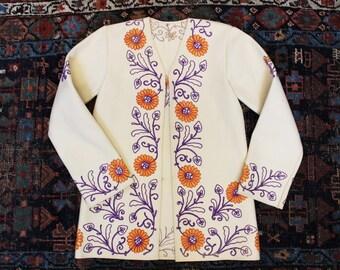 vintage embroidered wool coat handmade ethnic pattern small kimono jacket XS XXS tiny fit felted cardigan blazer almost famous hippie boho