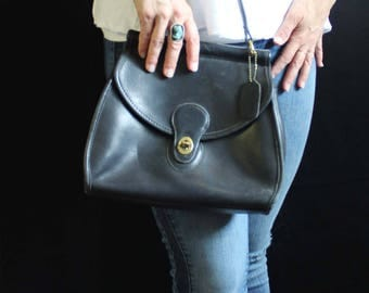 VTG Coach Station Bag #9239 leather crossbody black passport messenger purse shoulder bag satchel 80's Vintage