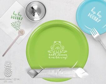 Personalized Plastic Cups | Personalized Plastic Plates | Monogram Napkins | Personalized Stir Sticks | Hip Hop Hooray Frog Party Plates
