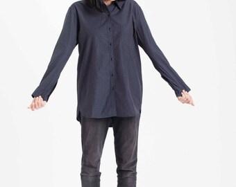 SALE 50% Off! Women button-down shirt, women shirt, oversize shirt, women blouse, boyfriend shirt, women top, blue shirt.