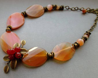 """A gorgeous necklace - """"Little accent"""". Necklace of Agate and Carnelian. Necklace Berries Leafs. large stones. for you. Gift from daughter."""