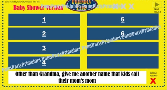baby shower friendly feud game one- family feud - interactive, Powerpoint templates