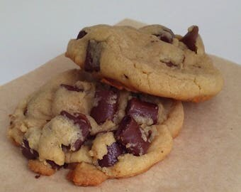 Chunky Chocolate. Whole lot of chocolate chip. Chewy Cookies made with all-natural ingredients. Baked goods. Homestyle.
