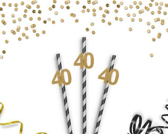 Forty Party Straws - 40th Birthday - 40 Straws - Glittered Party Straws - Birthday Party Decorations - Anniversary Party Decor