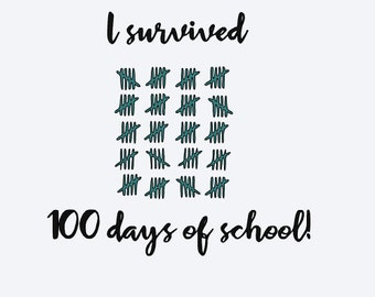 SVG, i survived 100 days of school, 100th day of school, cut file, printable file,  cricut, silhouette, instant download