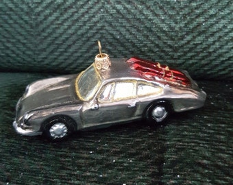 Blown Glass Jaguar Sports Car + Skis Glass Christmas Ornament or bauble
