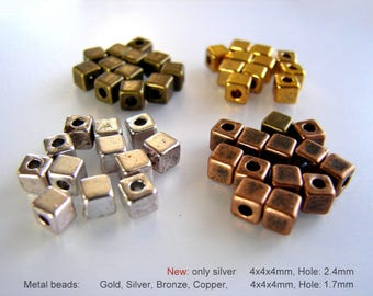 Cube Beads, Spacers Beads,Tibetan Style Beads, Metal beads, Gold, Silver, Antique Bronze, Antique Copper, 4x4x4mm, Hole: 1.7mm.