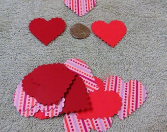 20 Scalloped Heart punches, Pink & Red patterns