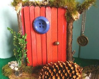 Rustic red, handmade Fairy Pixie door