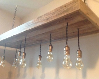 Rustic Reclaimed Barnwood Light Fixture-Chandelier with 7 Edison Lights